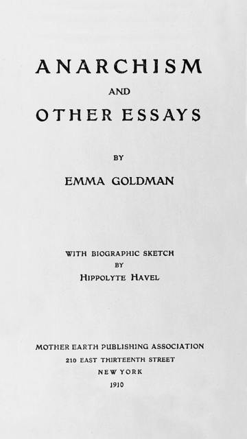 "[Frontispiece and title page from ""Anarchism and other essays"" with bust portrait of Emma Goldman, facing front]"