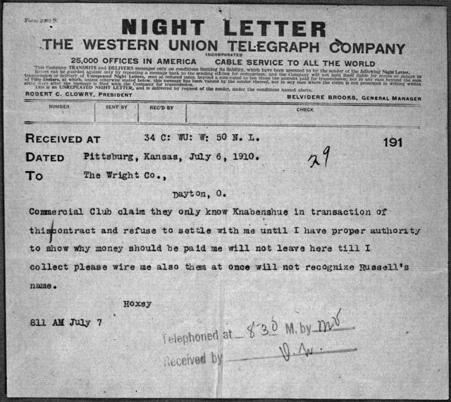 General Correspondence:  Hoxsey, Arch, 1910, 1928