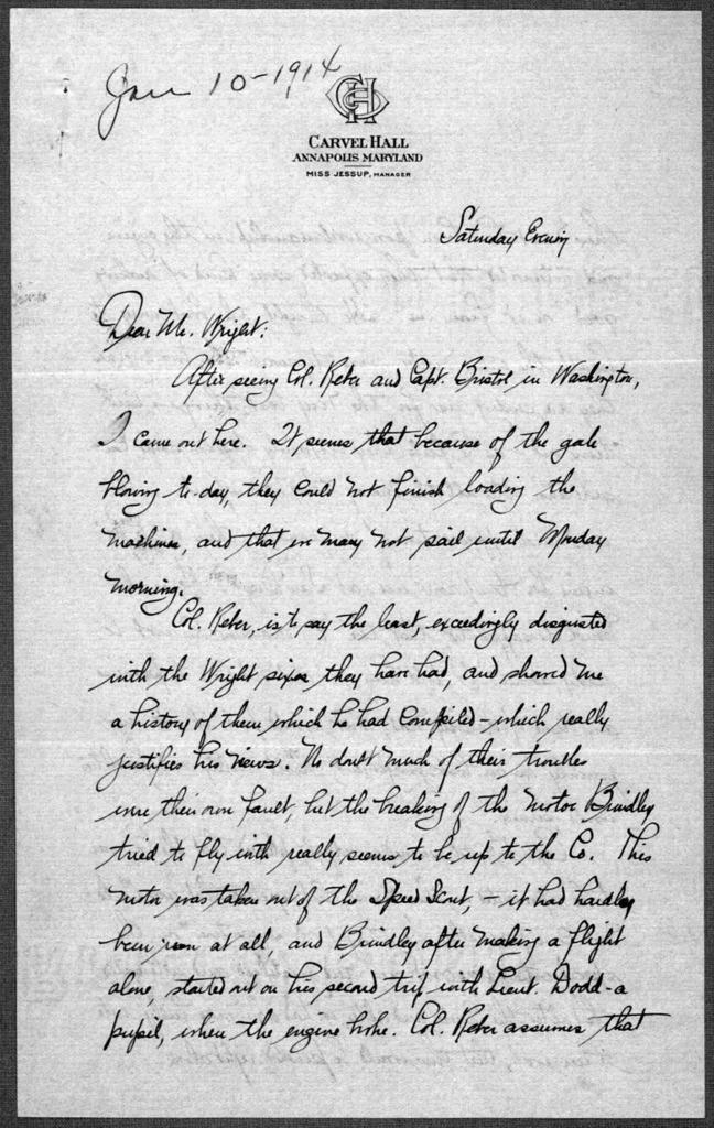 General Correspondence:  Loening, Grover C., 1910-1923