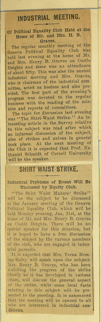 Geneva Political Equality Club Industrial Meeting on Shirt Waist Strike