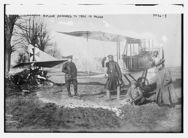 German biplane anchored to tree in Poland