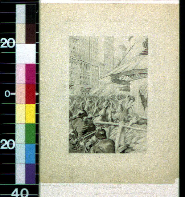 [German soldiers machine gunning New York crowds]
