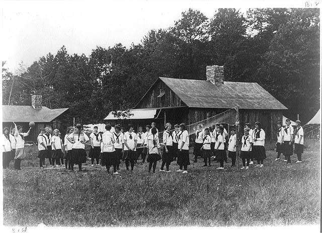 Girls playing volley ball at the Pine Tree Camp, Pocono Pines, Pa.