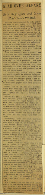 Glad Over Albany; Both Suffragists and 'Antis Hold Causes Profited