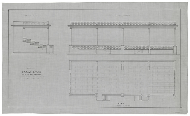[Government Hospital for the Insane (Saint Elizabeths Hospital), Washington, D.C. Grandstand. Plan, front and side elevations]