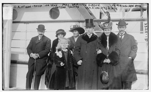 G.R. McLean [i.e., McLane] -- Paula Van Dyke -- Mrs. Hamilton Gibson -- Terbius [i.e., Tertius] Van Dyke -- Katrina Van Dyke -- Dr. H. Van Dyke & wife