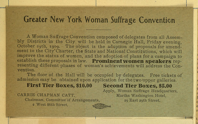 Greater New York Woman Suffrage Convention,