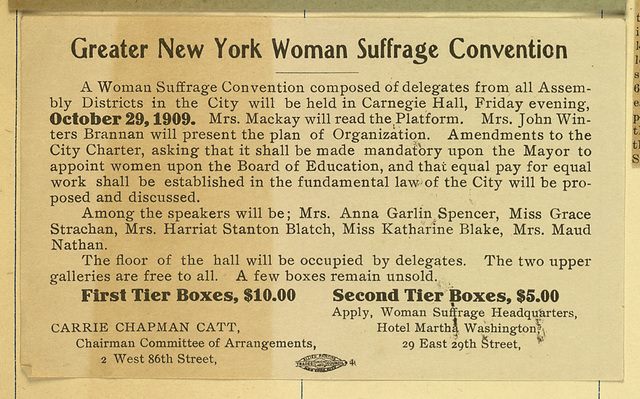 Greater New York Woman Suffrage Convention, (Mrs. Mackay will read the Platform)