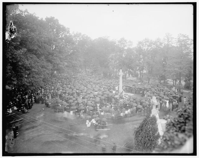 [Group assembled near Peace Cross on the grounds of St. Albans, Washington, D.C.]