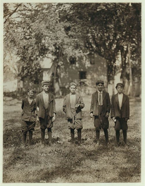 Group of boys working in American Woolen Mills, Winooski, Vt. Youngest, 13 years, oldest 15. All had been working one year or more. Most are illiterat[e] 27 Children apparently under 15 years, were counted at one gate. (See also N.C.L.C. Photos) (May 1909. 720-745).  Location: Winooski, Vermont.