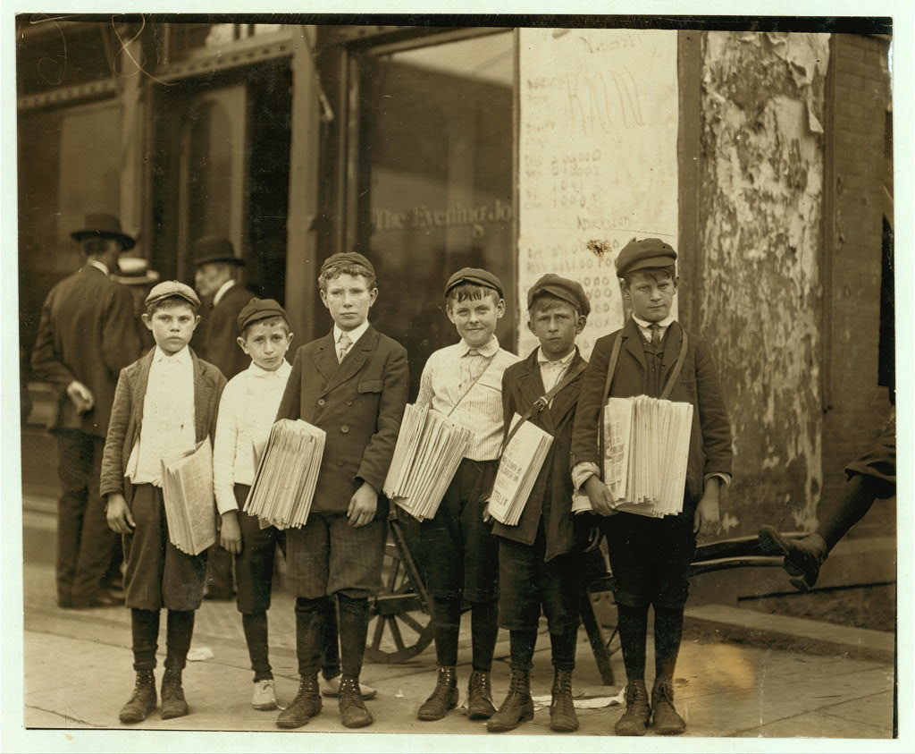 Group of newsboys at Evening Journal Office. Investigator, Edward F. Brown.  Location: Wilmington, Delaware / Photo by Louis [i.e. Lewis] W. Hine, May, 1910.