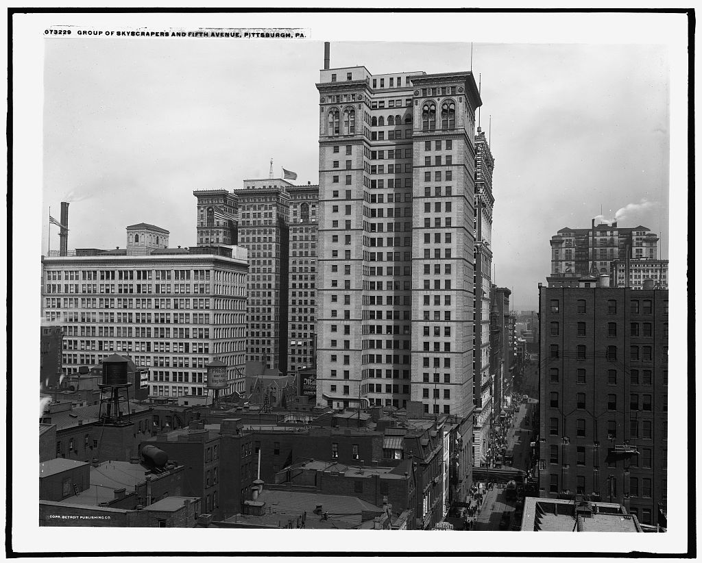 Group of skyscrapers and Fifth Avenue, Pittsburgh, Pa.