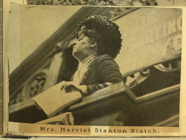 Harriet Stanton Blatch addressing Union Square suffrage meeting, photomechanical print