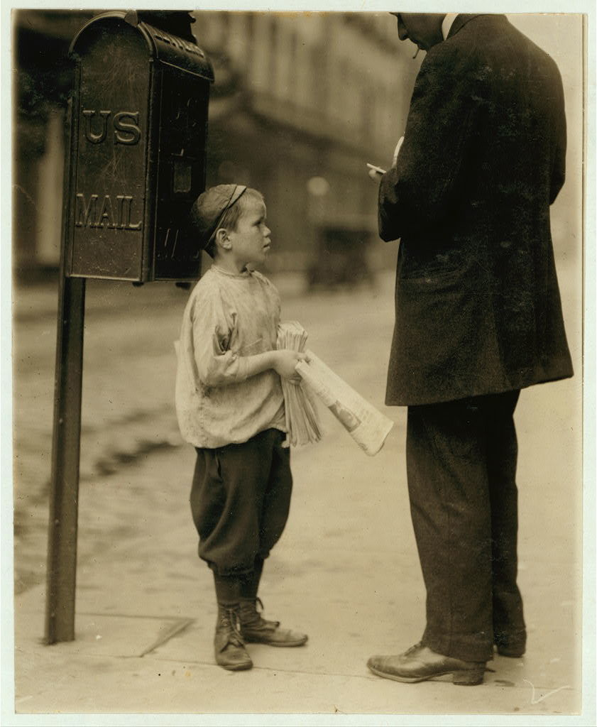 Harry Cherkos, 435 Catherine St, 7 years of age, sells papers, from 2:30 to 8 P.M. daily. 10 A.M. to midnight on Saturday. Income, 50 cents per day. This boy was caught gambling on Chestnut & 11th Streets. When asked if he gambles said no. Said all earnings go home. This boy has the appearance of being a bit feeble minded.  Location: Philadelphia, Pennsylvania.