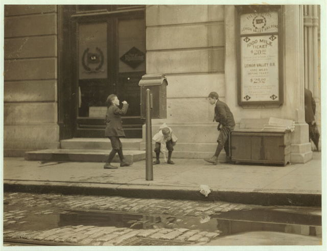 [Harry Cherkos, 435 Catherine St, 7 years of age, sells papers, from 2:30 to 8 P.M. daily. 10 A.M. to midnight on Saturday. Income, 50 cents per day. This boy was caught gambling on Chestnut & 11th Streets. When asked if he gambles said no. Said all earnings go home. This boy has the appearance of being a bit feeble minded.]  Location: Philadelphia, Pennsylvania.