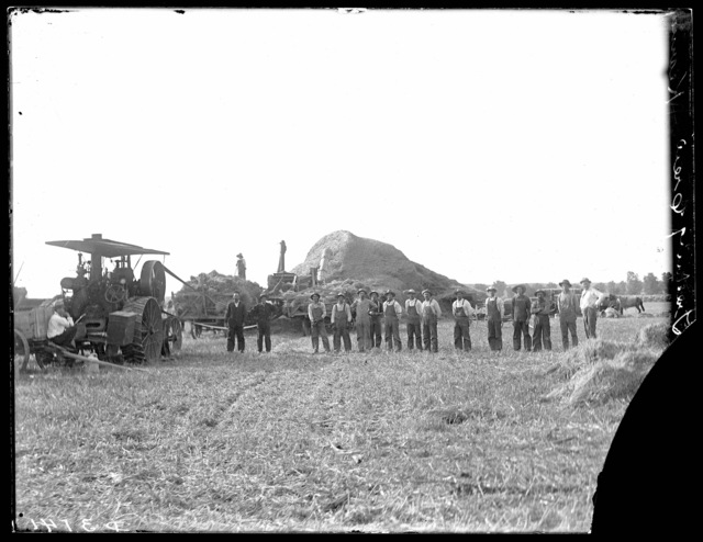 Hellrigles threshing crew west of Kearney, Nebraska.