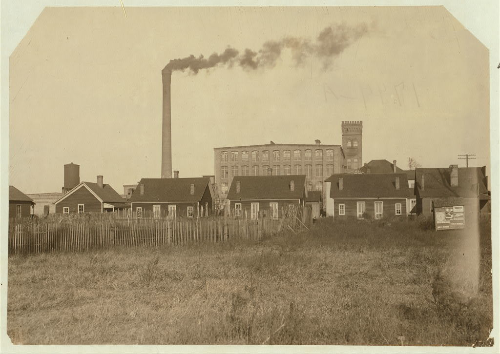 """Hell's Half Acre,"" a row of disreputable houses at the edge of the mill settlement at Avondale. These houses harbor the scum of the negroes and whites of the vicinity, and are separated from the mill village by a shallow ditch, which gave Gov. Comer, owner of the mills, the excuse that they were not on the mill property when the question of their removal was taken to him a while ago. A prominent social worker told me that not only do the mill people patronize these resorts, but that the broken down mill girls end up in these houses and that there are, on court record, three cases within a year of girls under fourteen years of age ruined in Hell's Half Acre. Told me, that there are innumerable instances showing the bad moral influence of the cotton mill settlement. (See report on Avondale conditions).  Location: Birmingham, Alabama."