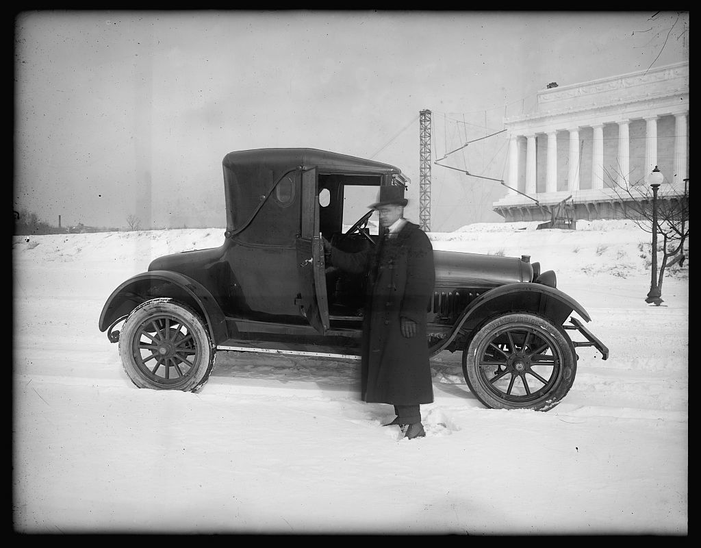 Herbert E. French and auto [near Lincoln memorial, Washington, D.C.]