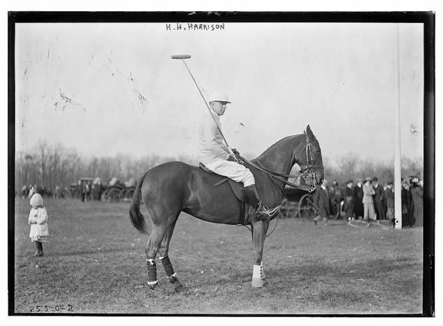 H.H. Harrison [on horse] - polo