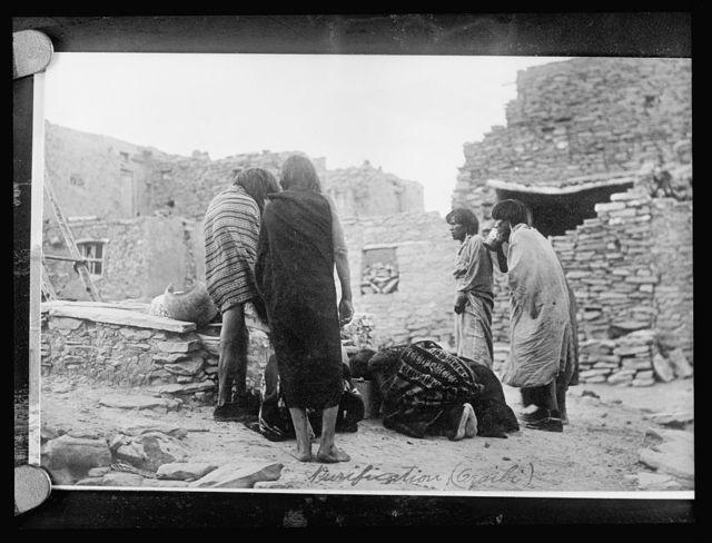 Hopi Indians purification ceremony, Oraibi pueblo, [Arizona]