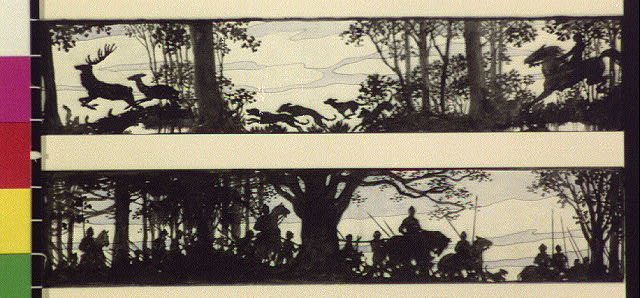 [Horseback riders and dogs chasing deer; men with spears on horses in woods]