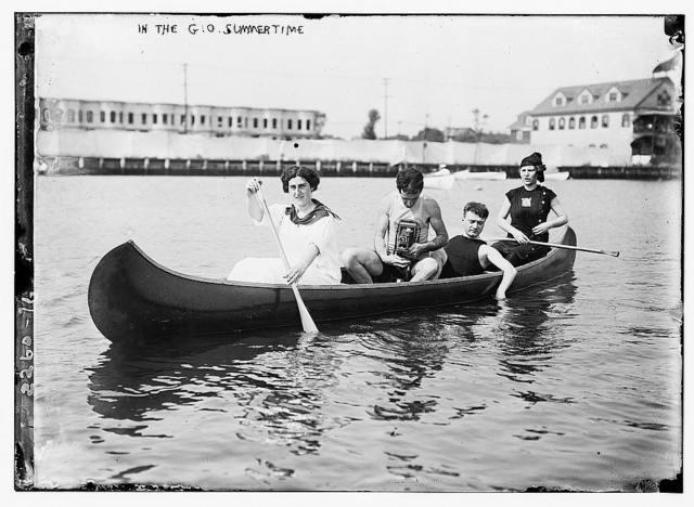 In the good old summertime. [canoe]