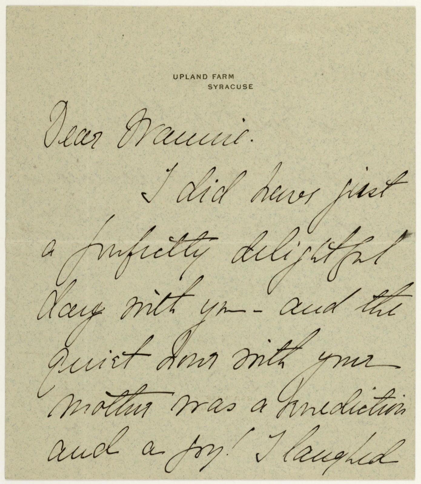Ina (Mrs. F. R. Hazard) to Nannie (Anne Fitzhugh Miller)