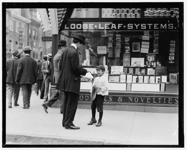 James Lequlla, newsboy, 12 years of age. Selling newspapers 3 years. Average earnings 50 cents per week. Selling newspapers own choice. Earnings not needed at home. Don't smoke. Visits saloons. Works 7 hours per day. Investigator, Edward F. Brown.  Location: Wilmington, Delaware / Photo by Lewis W. Hine., May 1910.