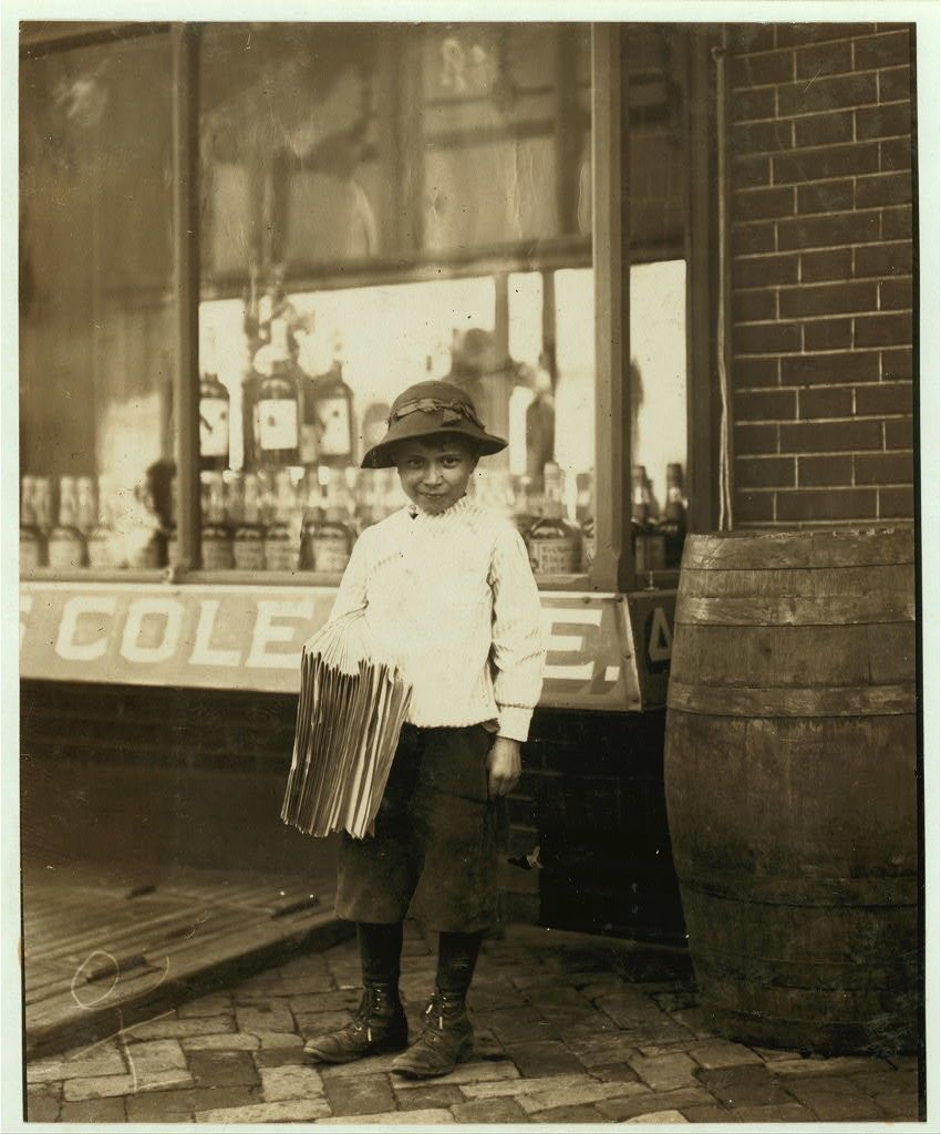 James Morgan, 119 French St. Newsboy. 9 years of age. Selling newspaper 4 years. Average earnings 50 cents per week. Selling papers own choice. Don't smoke. Visits saloons. Works 6 hours per day. Investigator, Edward F. Brown.  Location: Wilmington, Delaware / Photo by Lewis W. Hine., May, 1910.