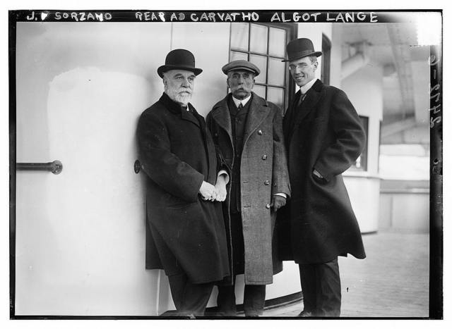 J.F. Sorzano; Rear Adm. Carvatho [i.e., Rear Admiral Carvalho]; Algot Lange