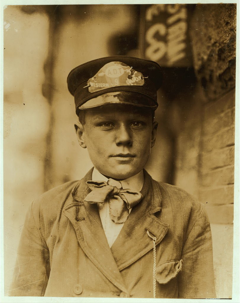 [John Towers, 627 S. Connell Street. Postal Telegraph Company, Messenger # 9. 15 years of age. In service 1 year. Visits houses of prostitution. Sometimes smokes. Edward F. Brown, Investigator. ].  Location: Wilmington, Delaware / Photo by Lewis W. Hine.