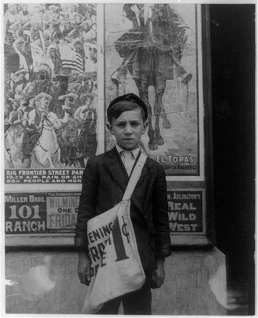 John Towers, 627 S. Connell Street. Postal Telegraph Company, Messenger #9. 15 years of age. In service 1 year. Visits houses of prostitution. Sometimes smokes. Edward F. Brown, Investigator.  Location: Wilmington, Delaware / Photo by Lewis W. Hine.