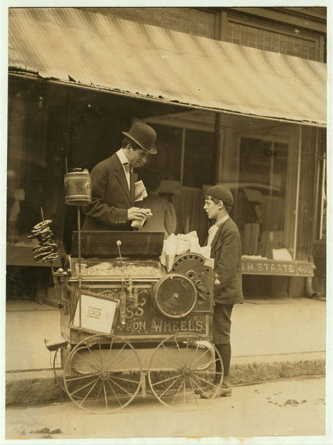Joseph Severio. Peanut vendor. 11 years of age. Pushing cart 2 years. Out after midnight on May 21, 1910. Ordinarily works 6 hours per day. Works of own volition. Don't smoke. All earnings go to father.  Location: Wilmington, Delaware.