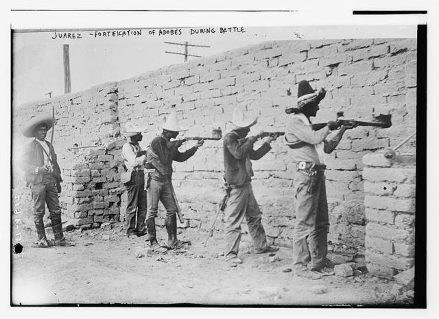Juarez, fortification of adobes during battle