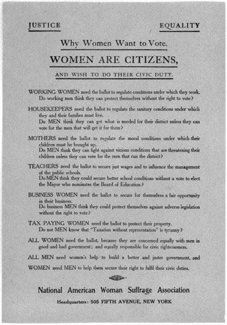 Justice. Equality. Why women want to vote. Women are citizens, and wish to do their civic duty ... National American woman suffrage association. Headquarters: 505 Fifth Ave, New York [1910].