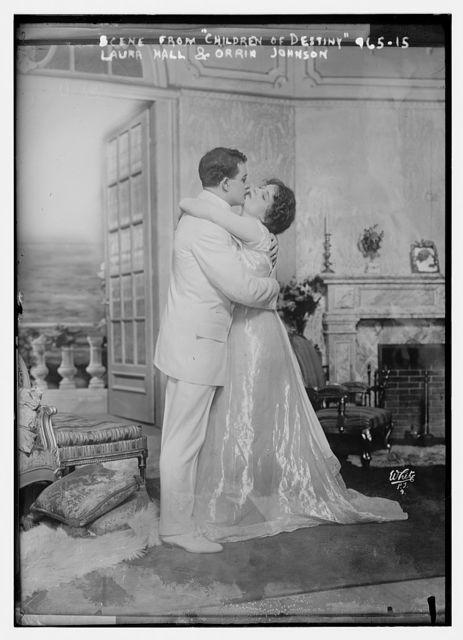 Laura Hall and Orrin Johnson embracing, scene form Children of Destiny, White N.Y. Photo / White Photo