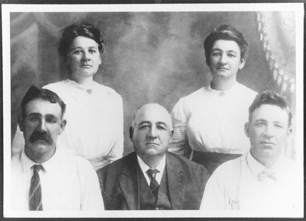 Left to right: Lydia Butcher, Wabel, Minerva Butcher Smith, George W. Butcher, S.D. Butcher, Abner Butcher.