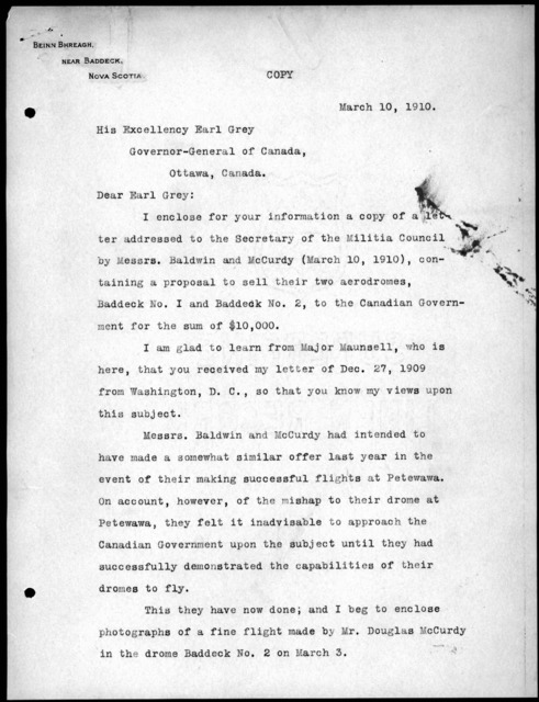 Letter from Alexander Graham Bell to Earl Grey, March 10, 1910