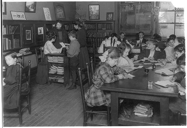 Library, Henry St. Settlement. New York City.  Location: New York, New York (State)