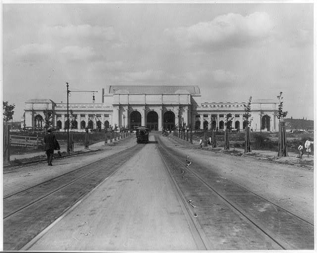 [Looking down trolley tracks toward Union Station, Washington, D.C.]
