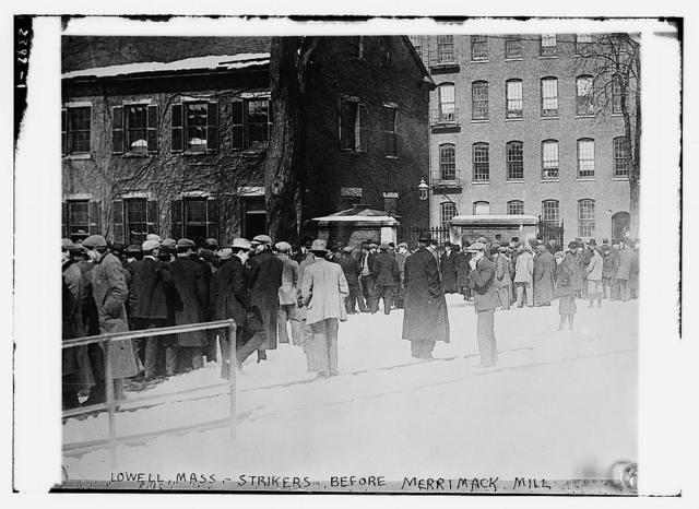 Lowell, Mass. - strikers before MERRIMACK MILL