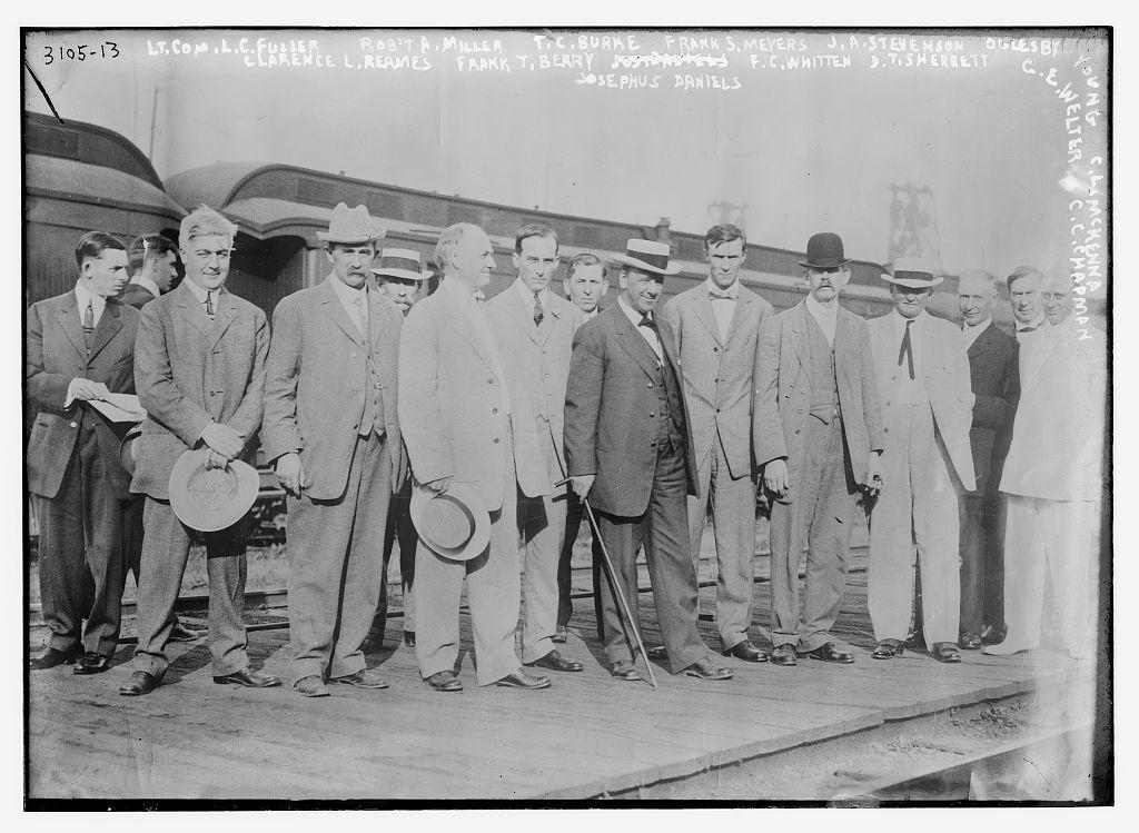 LT. Com. L.C. Fuller, Robt. A. Miller, T.C. Burke, Frank S. Meyers, J.A. Stevenson, Oglesby Young, C.L. McKenna, Clarence L. Reames, Frank T. Berry, F.C. Whitten, D.T. Sherbett, Josephus Daniels, C.E. Welter, C.C. Chapman