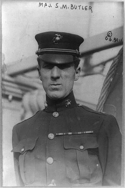 [Major Smedley D. Butler, half-length portrait, standing, facing left in USMC uniform]