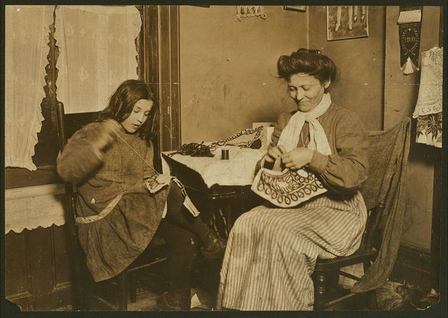 Making embroidery. Upper East Side, N.Y. City. Location: New York, New York (State)