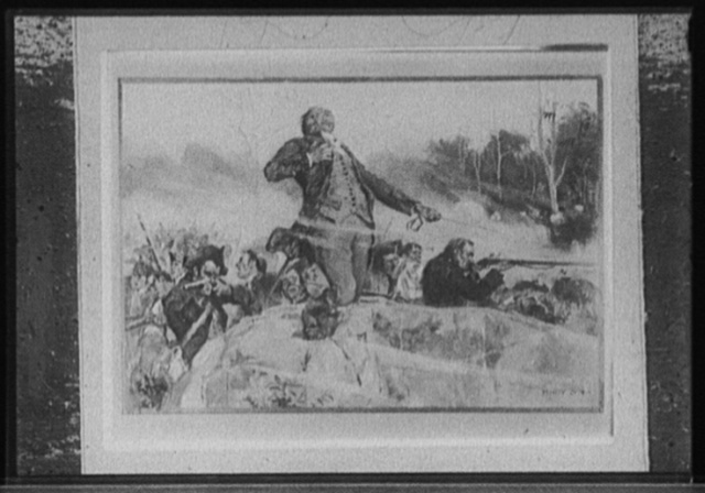 [Man with sword attempting to lead charge in battle]