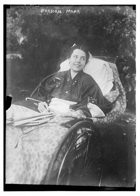 Marjorie Mahr in wheel chair