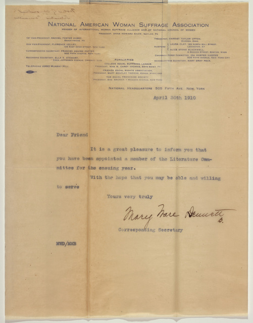 Mary Ware Deuuett (sp?) National American Woman Suffrage Association notice of appointment to Legislative Committee