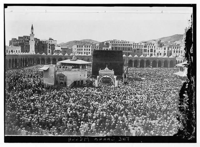 Mecca, ca. 1910. Bird's-eye view of Kaaba crowded w/pilgrims