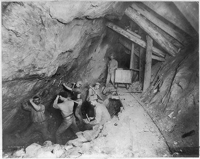 Men at work inside a mine. Idaho Springs, Co.