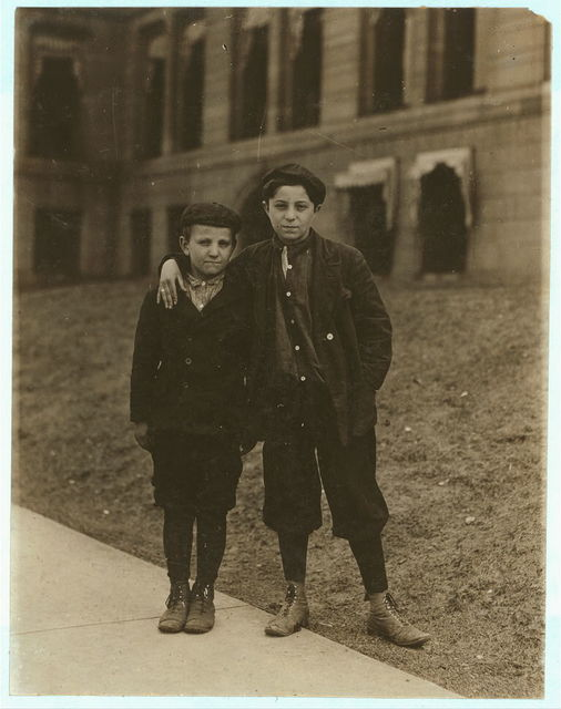 Meyer Slein (12 years old) his brother Abe (10 years old) who has just returned from Industrial School (Reform School). Another brother is in the School. Show effects of street life and are Juvenile Court Boys.  Location: St. Louis, Missouri.